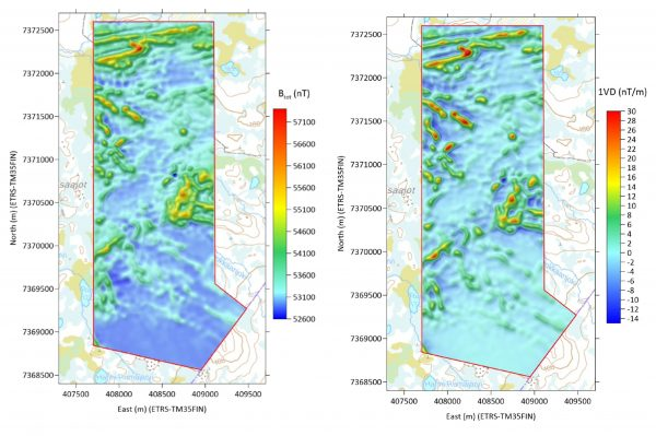 Magnetic total field (with sun shading) of the Palokkaanlampi survey area computed at the constant height of 10 m using ELM of low, mid and high‐altitude data jointly (left). First vertical derivate of magnetic total field computed at the constant height of 35 m (right).